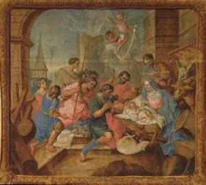 L\'adoration des bergers, carton de tapisserie, XVIIe siècle