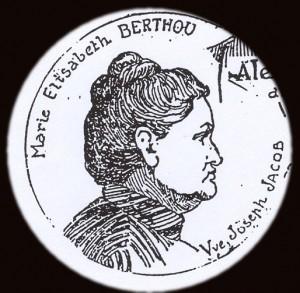 Caricature de Marie Jacob au moment du procès d\'Amiens