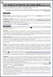CIRA Marseille, la Feuille d\'Info n°98, septembre 2008