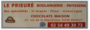 publicité pour la boulangerie Le Prieuré de Reuilly