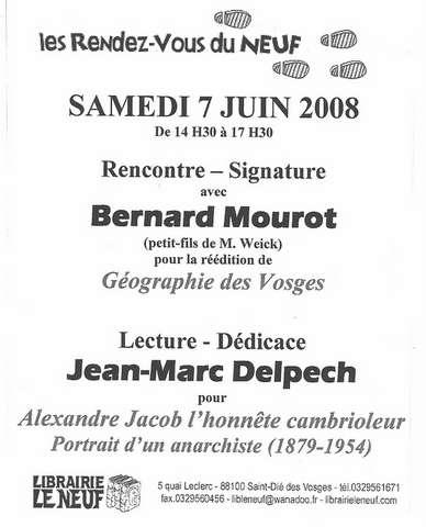 flyer de la librairie Le Neuf à Saint Dié