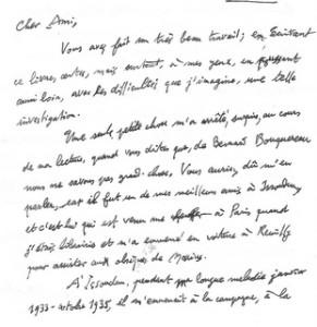 Lettre de Pierre Valentin Berthier, 12 février 2009