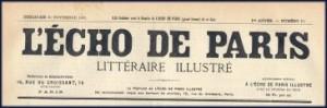 manchette de L\'Echo de Paris