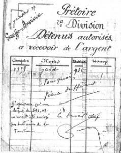 extrait du livret de pécule de Jacob à Fresnes en 1927