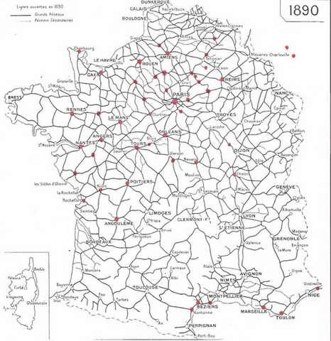 le réseau ferré français en 1890