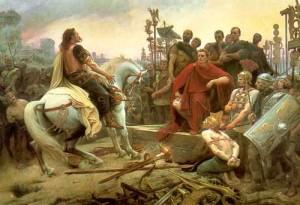 Vercingétorix rendant les armes à César, tableau de L.Royer, 1888
